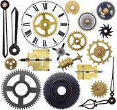 Clock Parts. Old clock parts isolated on a white background Royalty Free Stock Photos