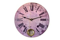 Clock pink round vintage figures roman new year time old clock Isolated white watch horologe. Old pink vintage watch on white background. Round big clock top stock photos