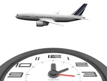Clock and plane Royalty Free Stock Image