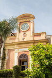 Clock on Plaster Building in Sorrento Royalty Free Stock Images