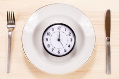 Clock on a plate. Clock on a white plate with fork ant knife Royalty Free Stock Images