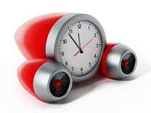 Clock pointing a couple of minutes to 12 with jet engines. 3D illustration Stock Images