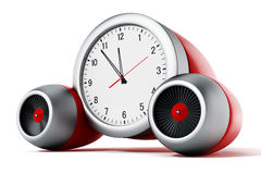 Clock pointing a couple of minutes to 12 with jet engines. 3D illustration royalty free illustration