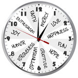 Clock with positive feelings Royalty Free Stock Photo