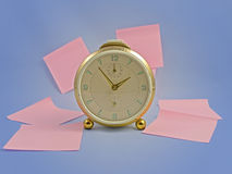 Clock and post-its Royalty Free Stock Image