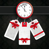 Clock With Price Stickers Wallpaper Ornaments Stock Photography
