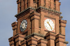Clock at Psalmists school tower, Chernivtsi,Ukraine Royalty Free Stock Photo