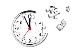 Clock puzzle. Time Concept. Clock puzzle with missing pieces Royalty Free Stock Images