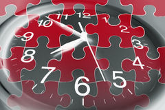 Clock and Puzzles. Composite of Clock and Puzzles Royalty Free Stock Photography