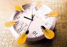 Clock & Puzzles. Alarm clock is an instrument that shows you what time it is Stock Image