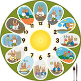 Clock Rabbit Schoolchild Stock Image