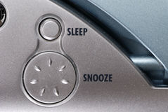 Clock radio. Sleep and Snooze button of a clock radio Royalty Free Stock Photo