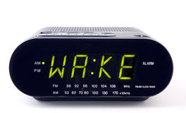 Clock Radio with the word WAKE Royalty Free Stock Photos