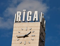 Clock of railstation in Riga city Royalty Free Stock Photography