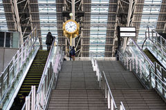 Clock in railway station royalty free stock photography