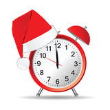 Clock with red christmas hat vector stock illustration