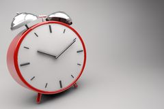 The Clock. Red 3d Clock With Little Bells in Perspective Royalty Free Stock Images