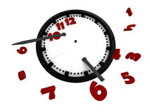 Clock with red digits. Clock on a white background. Isolated object Royalty Free Stock Images