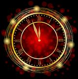 Clock on a red festive background Stock Image