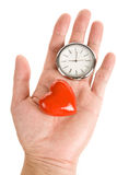 Clock and Red Heart Stock Image