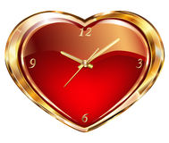 Clock with red hearts. Gold watches and clocks on a background of red velvet heart with floral ornament Stock Photo