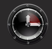 Clock red. Red clock from metal and glass Royalty Free Stock Photography