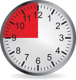 Clock with red 15 minute deadline. On white background. Vector illustration Vector Illustration