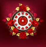 Clock with red roses Stock Image