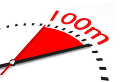 Clock with red seconds hand area one hundred meters race Royalty Free Stock Image