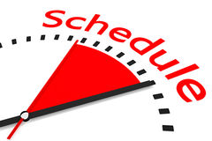 Clock with red seconds hand area schedule illustration Stock Image