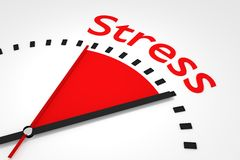 Clock with red seconds hand area stress illustration Stock Photo