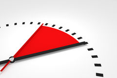 Clock with red seconds hand area time remaining illustration Stock Photo