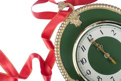 Clock with red stripe Royalty Free Stock Photo