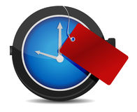 Clock with a red tag illustration design. Over white Royalty Free Stock Photography