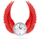 Clock. Red wings. Royalty Free Stock Photography