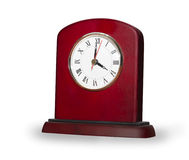 Clock from red wooden isolated over white Stock Photo