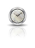 Clock reflected on white Royalty Free Stock Photo
