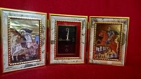 Clock with religious scenes Stock Photography