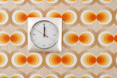 Clock on Retro Wallpaper Royalty Free Stock Photography