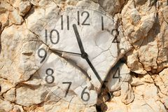 Clock on rock Royalty Free Stock Images