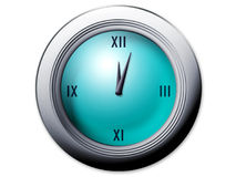 Clock with Roman Numerals. A computer generated image of a round analog clock with Roman Numerals on the blue face.  Approximate time is 5 minutes after 12 Stock Images