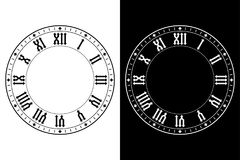 Clock with roman numerals. Black and white Vector illustration Royalty Free Stock Photo