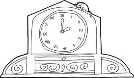 Clock with Roman Numerals and Mouse. Outline drawing of mantle clock with mouse and roman numerals Stock Photography