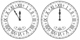 Clock with Roman numerals. New Year midnight 12. On white vector illustration Stock Photo