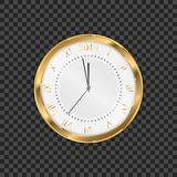 2019 clock. Round retro clock with Roman numbers. Couple minutes untill New Year 2019.  vector illustration