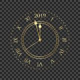 2019 clock. Round retro clock with Roman numbers. Couple minutes untill New Year 2019.  stock illustration