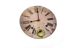 Clock round vintage figures roman new year time old clock Isolated white watch horologe brown. Old vintage watch on white background. Round big brown clock top stock photo