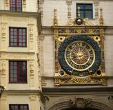 Clock in the Rue du Gros-Horloge, Rouen, Haute-Normandy, France Stock Photography