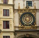 Clock in the Rue du Gros-Horloge, Rouen, Haute-Normandy, France Stock Photography