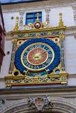 Clock in the Rue du Gros-Horloge, Rouen Stock Image